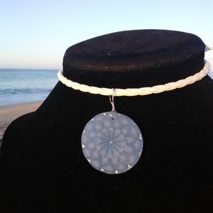 Carved Blue Mandala Sea Glass Leather Necklace